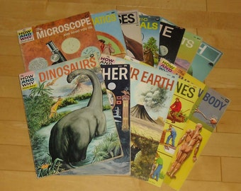 How and Why Series, 12 Books, Dinosaurs, Weather, Earth, Machines, Human Body, Microscope, Mathematics, Horses, Mammals, Time, Deserts, Fish