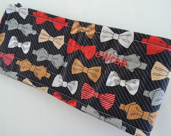 Red and Grey Bow Tie Dog Diaper Belly Band, Stops Marking, Personalized