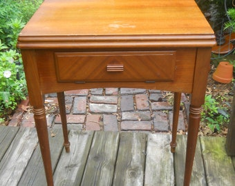 Vintage Singer Sewing Machine Walnut Table/Cabinet--W/Cradle-Dust Bottom-Knee Bar-For a Singer 301/301A