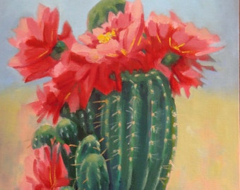 Original Still Life Oil Painting//Pink Cactus Flowers//12 x 16 Canvas Panel signed by Janet Ramble