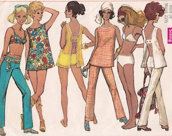 1960s Bikini Simplicity 8153 MOD Open H Back Top and Hip Huggers Vintage 60s Sewing Pattern, Size 12, Bust 34 1/2, Partly Cut