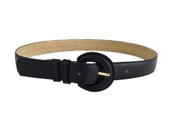Vintage Genuine Black Leather Waist Belt Sz Small