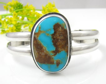 Natural Turquoise Cuff Bracelet - Sterling Silver Turquoise Cuff Bracelet - Kingman Turquoise Cuff - Rustic cuff bracelet