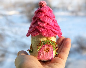 Pink Fairy House Tooth Box Gift Miniature Fairy Garden House Home Felted Wool Fairy House Cottage Fairies and Elves  gift for daughter