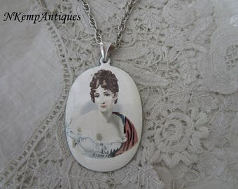 French enamel pendant and chain josephine