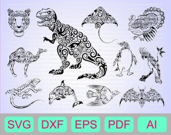 Animal mandala,  Zentangle svg, Mandala svg, Dino svg, Dinosaur svg, T-rex svg, Trex svg, Trex silhouette, Tiger svg, Penguin svg,