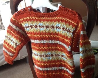 Hand knitted fairisle sweater for 1 yr old
