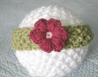 Baby Headband with Flower, ear warmer, Newborn to 3 plus Months, Stretch Headband, Handmade, Alpaca and Wool,  Ready to Ship