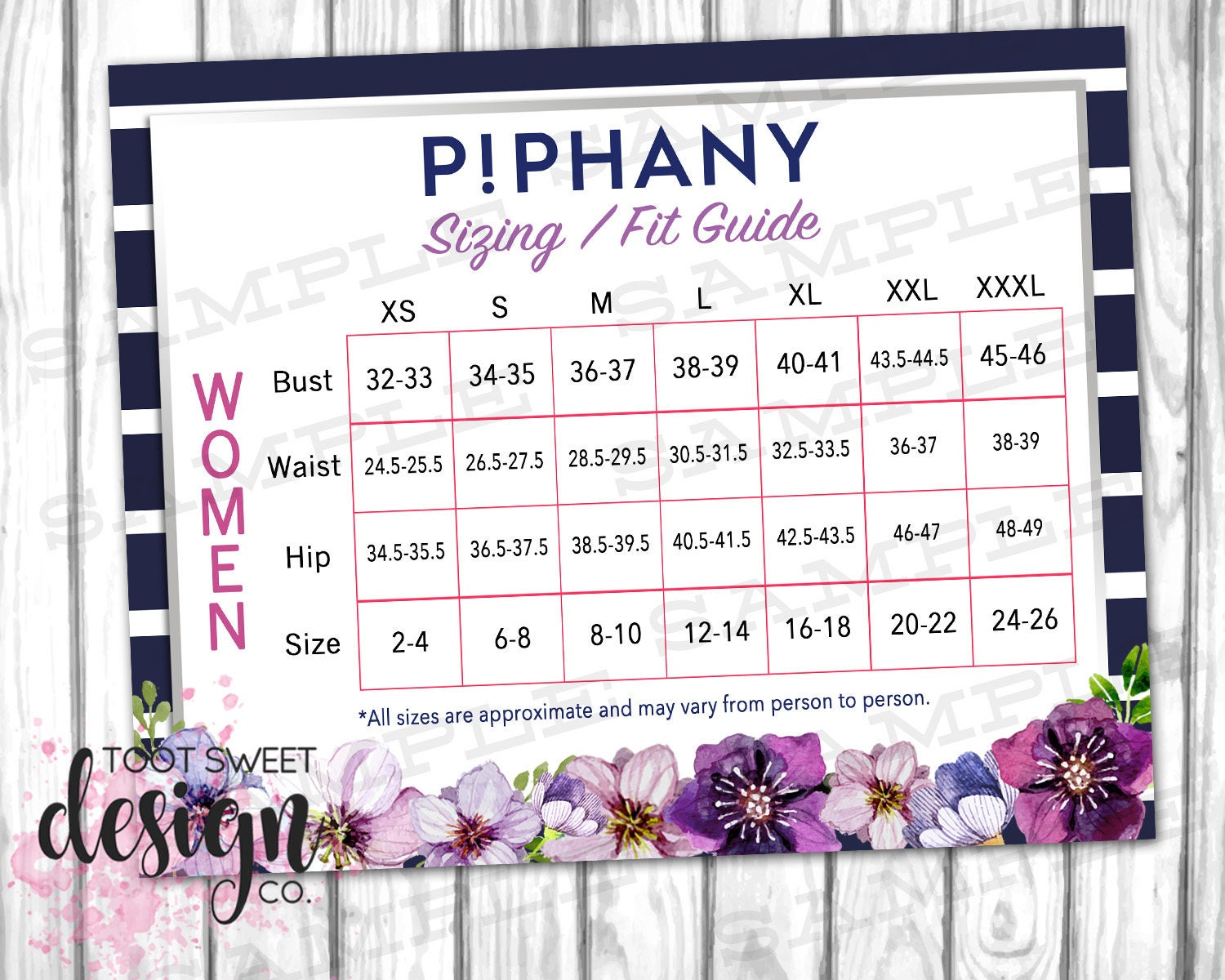 Piphany sizing fit guide piphany size chart poster piphany zoom geenschuldenfo Images