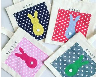Easter Bucket Bag, Easter Basket Bag, Easter Egg Hunt Bag, Kids Easter Bunny Bag, Easter Rabbit Bag, Kids Name Bag. Choose name and fabric.