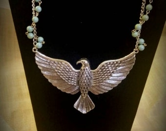After Life Accessories Handmade Silver Eagle Bib Necklace