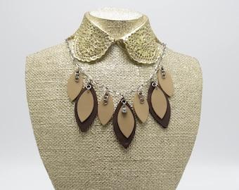 Leather Petal Necklace