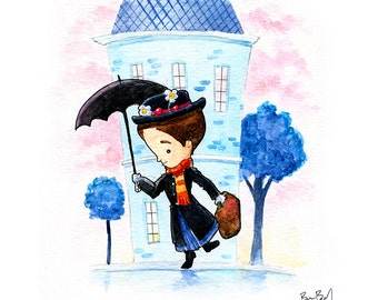 Mary Poppins Watercolor Print