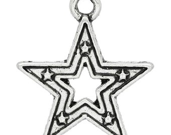 5 Pieces Antique Silver Star Charms