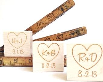 Custom Stamp. 2x2.  DIY Wedding Invite Stamp / Heart w/ Initials. Rustic Wedding Decor.