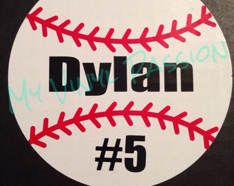 Personalized Baseball Car Decal; Customized Baseball Car Decal; Baseball Car Decal; Baseball Decal