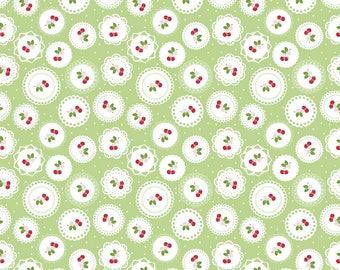 Sew Cherry 2 - Per Yd - Riley Blake - by Lori Holt - Cherry circles on Green