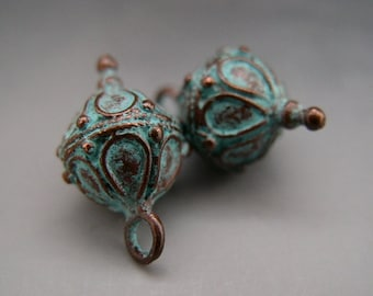 Bali Style Fancy Drop Dangle Charms Pair Mykonos Greek Copper Antiqued Green Turquoise Naos