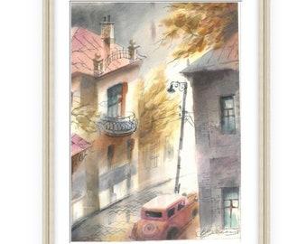 Cozy lane, Wonderful Watercolor,Amazing watercolor, easel watercolor,drawing watercolor, recognized master,Original painting, Victor Zelik