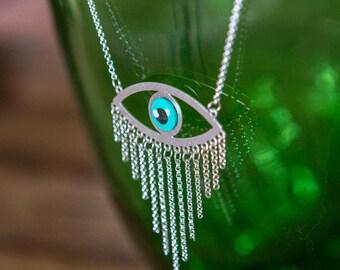 Open Eye Pendant, Long silver Necklace, Long silver Chain, Eye Necklace, Charm necklace, SILVER Chain, Modern Boho tassel Necklace.