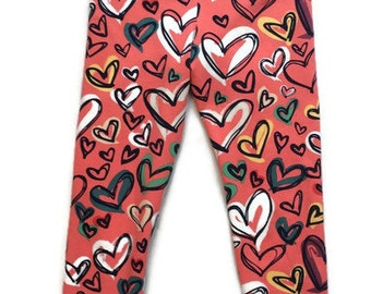 Girls Valentines outfit - girls pink leggings - leggings for girls - baby leggings - leggings for toddlers - toddler leggings