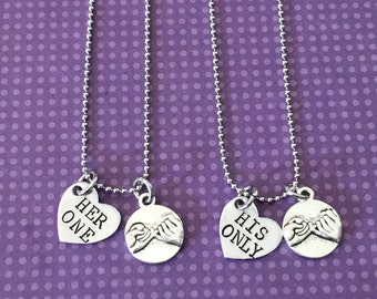 Her One Her Only / His One His Only with heart Hand stamped Necklace set - couple set - anniversay wedding - pinkie swear