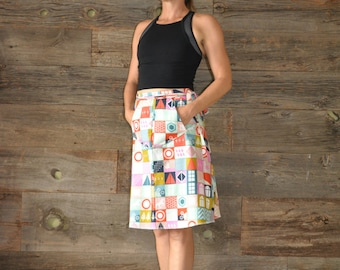 A-Line Skirt - Wrap Skirt - Pockets - Colourful - Squares - Cotton