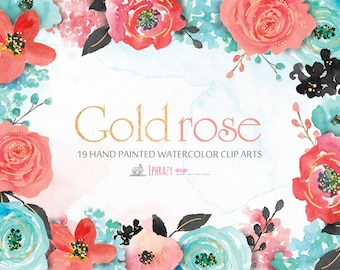 Rose watercolor clipart. Floral clipart. Roses clipart. Shabby chic. Rose gold. Rose gold clipart. Flowers clipart.