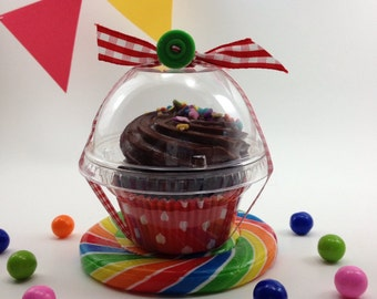 12 Clear Cupcake Boxes, Party, Wedding Favor, Candy Cup, Plastic Cupcake Container