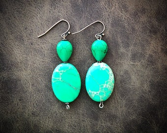 Vibrant Green Gemstone Earrings