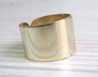 Wide Gold Band Ring - Wide Band Ring - Gold Ring - Adjustable Ring - Gold Cuff Ring - Gold Wide Ring - Gold Band Ring - Statement Ring
