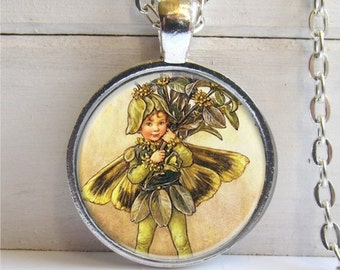 Flower Fairy Pendant, Vintage Fairy Pendant, Art Pendant