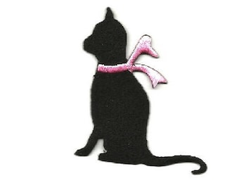 Cat - Kitten - Pet - Domestic - Black Silhouette - Embroidered Iron On Applique Patch - L