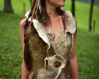 Felt Seamless Vest-Natural Vest-Wool Top-Tribal Vest-Woodland Clothing-Festival Wear-Felt High Collar Vest-Pixie Vest-Woodland Clothing OOAK