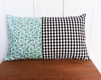 Cushion cover 50 x 30 cm black geometric patterns and Scandinavian decor Mint Green