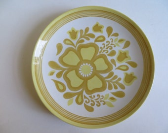 Mid Century 1960s Cavalier Royal China Yellow Damsel Dinner Plates Set of 6