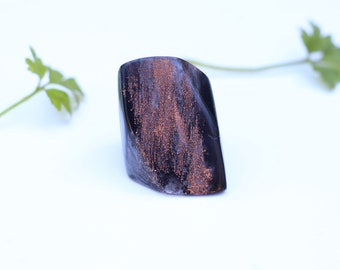 Black resin ring, copper ring, ring resin copper, black ring, contemporary jewellery, artistic ring, metallic foil, big rings, size 5 ring