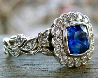 Blue Sapphire Engagement Ring in 14K White Gold with Diamonds in Flower Buds & Leafs on Vine Size 5