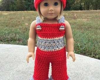 "Red & Gray Crochet 18"" Doll Sock Monkey Overalls w/ Matching Hat"