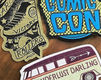 Made in USA 50 Custom IRON ON Patches - Your own artwork - Up to 10 Colors