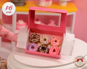 Miniature Donut Box for Barbie or Blythe, 1:6 Scale Dollhouse Donuts, Miniature Dollhouse Dessets