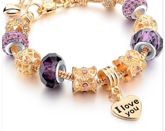 I love you Gold plated bracelet with purple/gold charms-great gift