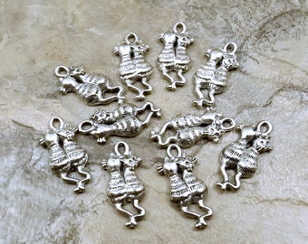 Set of Ten (10) Pewter Two Cats  (Back View) Charms -  0125