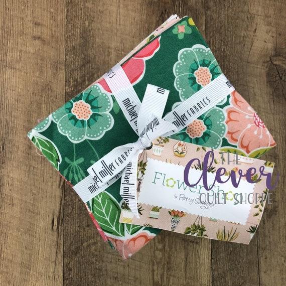 Fat Quarters, Flower Shop, Michael Miller, 22 Pcs, Floral Yardage, Garden Fabric, Spring Fabric, Pink Fabric, Green Fabric, Fabric Bundle