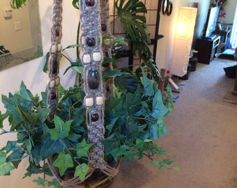 Large Macrame Plant Hanger of Natural Jute and Wooden Beads