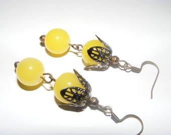 Fashion Jewelry Earings Antique Gold and Yellow Glass Beads Dangle Style-Ships Free