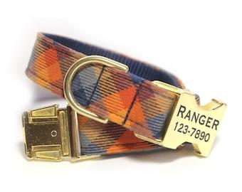 Personalized Tartan Dog Collar, Personalized Dog Collar optional, Plaid Orange and Blue, The Ranger