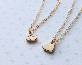 Heart Charm Necklace with Initial / Childrens initial Necklace / Tiny Heart Necklace