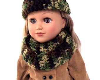 18 Inch Doll Camo Hat and Scarf Set, Crocheted Doll Hat and Infinity Scarf, Fits 18 Inch Dolls, Winter Doll Clothes