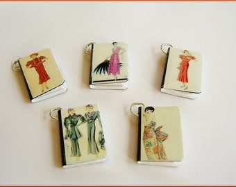 Fashion Miniature Book Charms Set of all 5  Vintage Style 1930's 1940's Fashionista